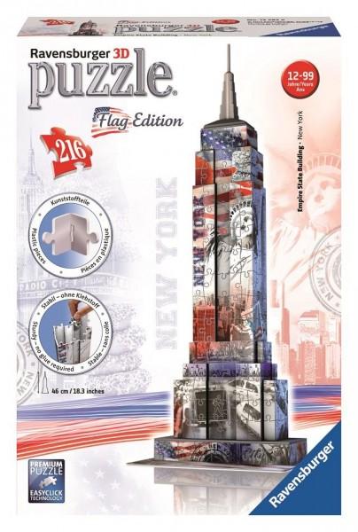 RAVENSBURGER 3D Puzzle Bauwerk Empire State Building Flag Edition