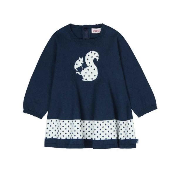 Bóboli Mädchen Strick-Kleid Eichhörnchen blau Gr. 74 - 104