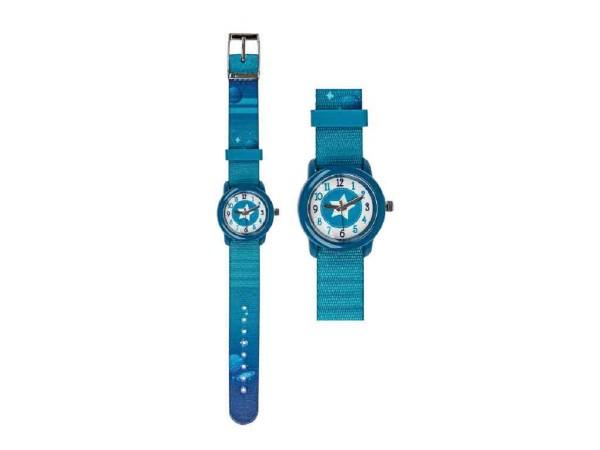 Kinder Armbanduhr Weltall türkis mit Stoffarmband