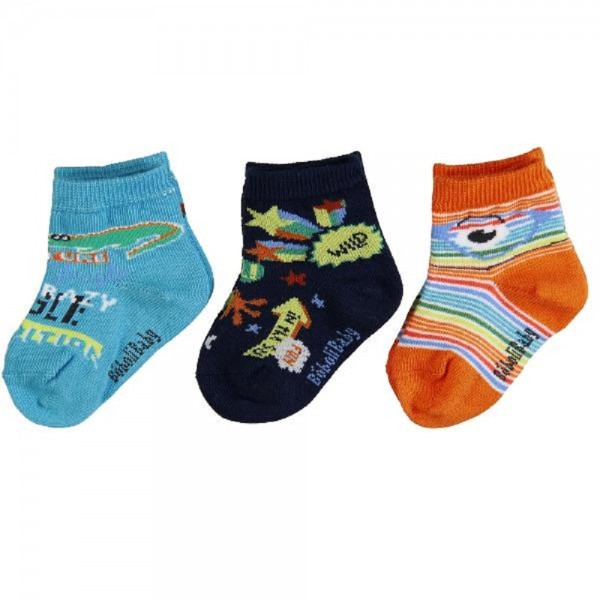 Bóboli Jungen Socken 3er Pack orange/türkis Gr. 19-27