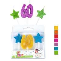 Trendhaus Happy Birthday Jubiläumskerzen Nr.60 im 3er-Set