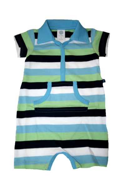 SANETTA Baby Overall / Spieler Organic Cotton gestreift Kurzarm