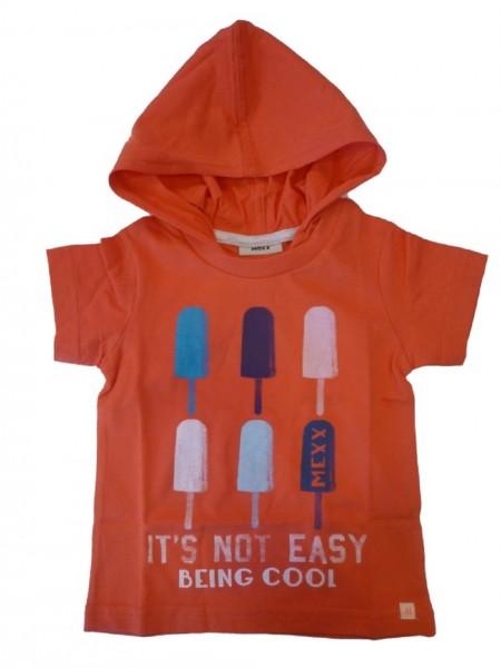 MEXX Jungen Kinder T-Shirt mit Kapuze cayenne Gr. 74 - 92