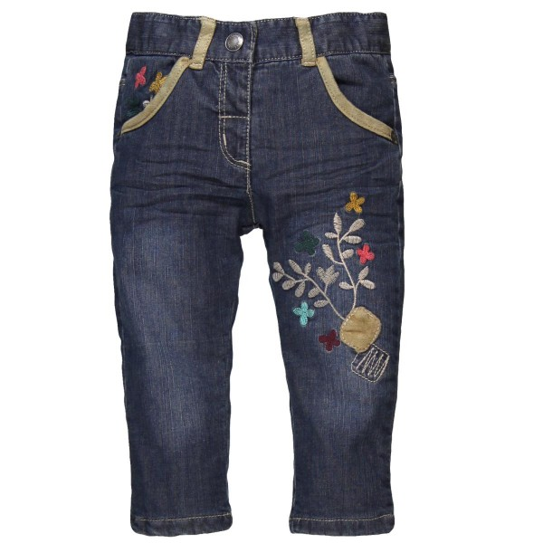 Bóboli Mädchen Jeans blau mit Blumenstickerei Gr. 74 - 104