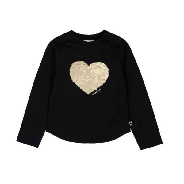 Bóboli Mädchen Langarm-Shirt schwarz Goldenes Herz Gr. 110 - 164