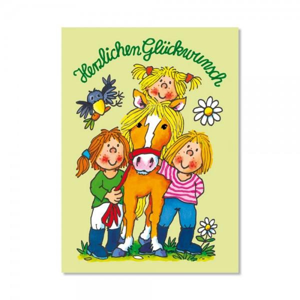LutzMauder FensterbildPostkarte Mein Ponyhof Herzlichen Glückwunsch A6
