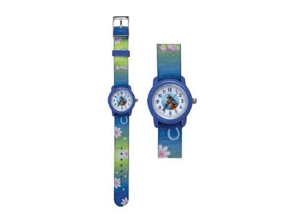 Kinder Armbanduhr Pferd blau mit Stoffarmband