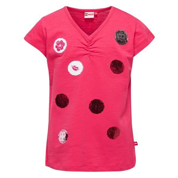 Lego Wear Mädchen T-Shirt mit Pailletten-Wendemotiven rot Gr. 110 - 152