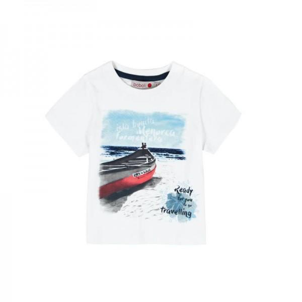 Bóboli Jungen T-Shirt Ruderboot kurzärmlig weiß Gr. 68 - 92